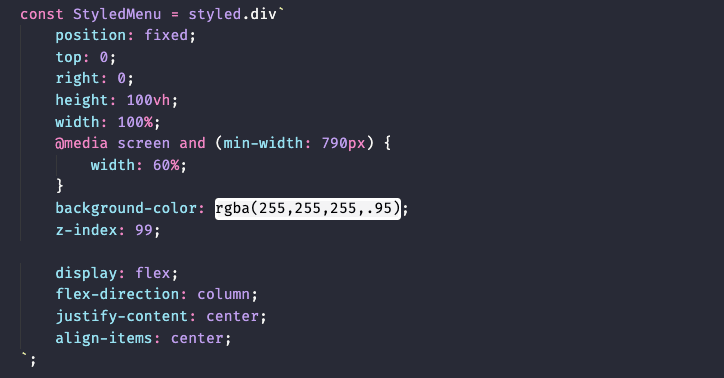 How Menujs styled component should look