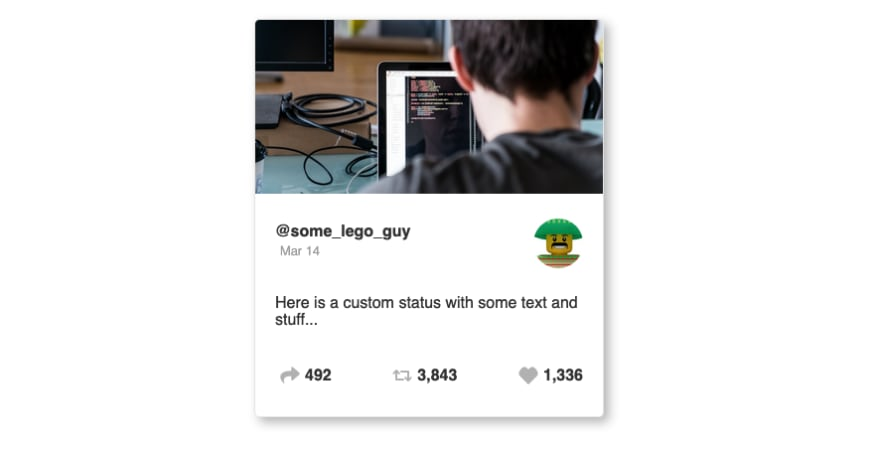 Finished social card with Styled Components