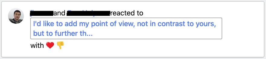 Screenshot showing the thumb down reaction