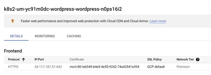 LB with SSL certificate