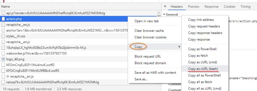 Copy as cURL(bash)