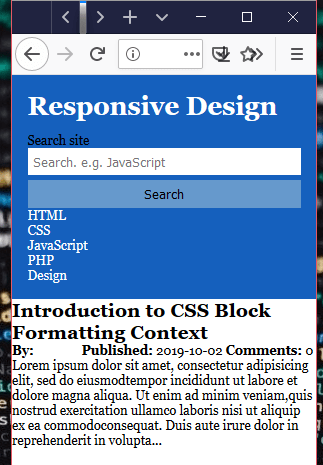 Mobile of a responsive design