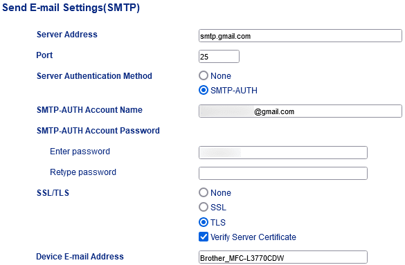 Brother MFC-L3770CDW SMTP Settings page screenshot