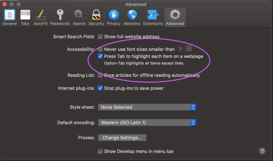 Safari Preferences checkbox to highlight each item on page