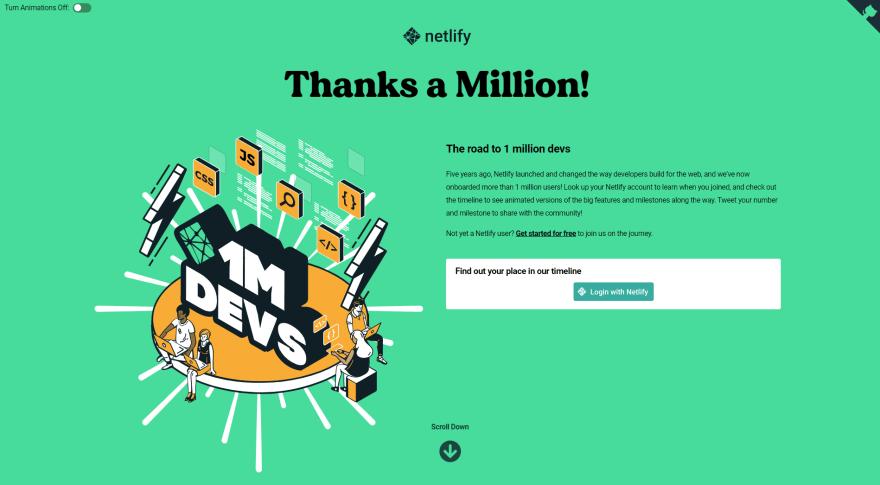 Netlify 1 million homepage hero