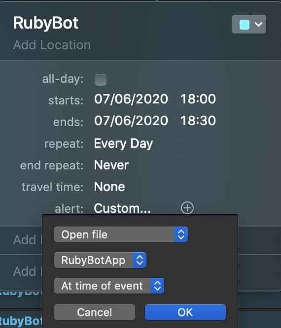 Opening custom Automator app from Calendar app