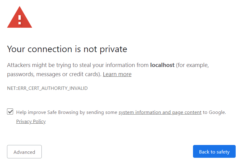 chrome https certificate warning