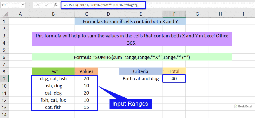 Formulas to sum both X and Y