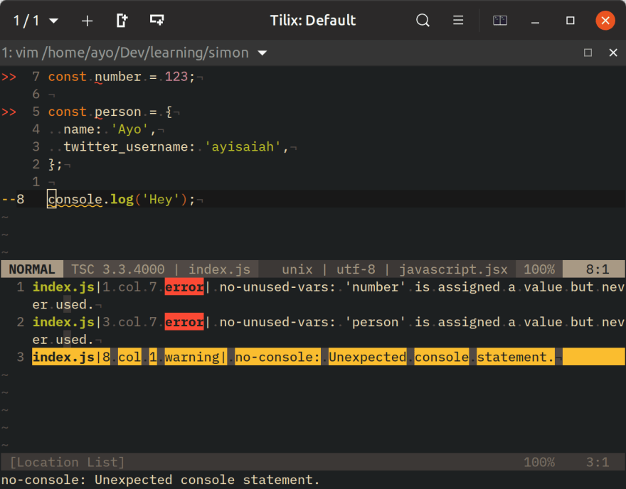 Jump between ESLint errors via the location list