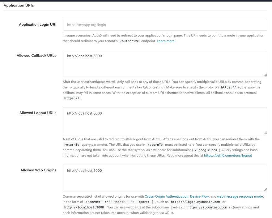 Auth0 Application configuration