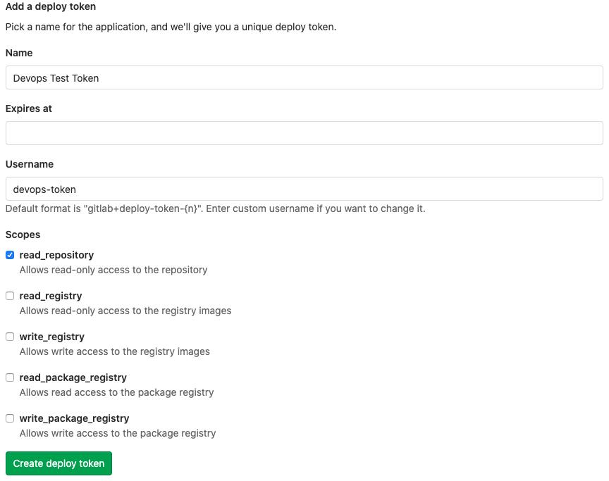 Gitlab deploy token