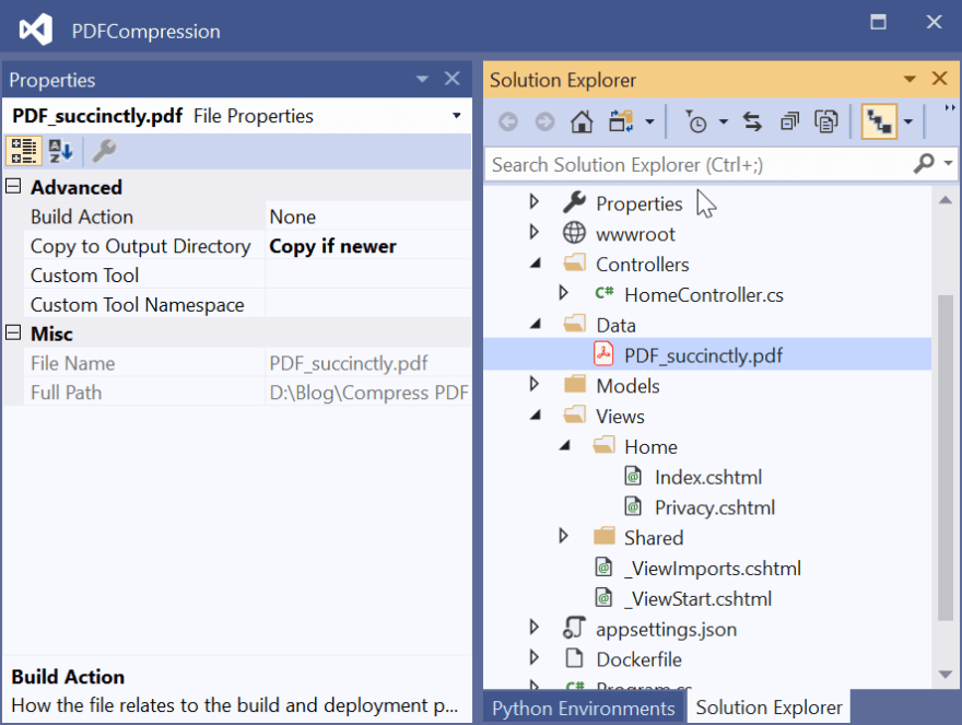 Set Copy to Output Directory to Copy if newer for the data in the Properties section