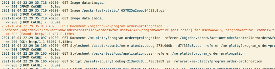 Browser requests log in the system tests