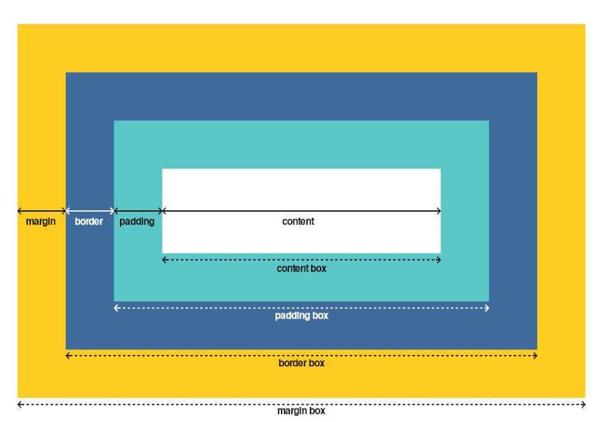 The Box Model: margin, border, padding, and content