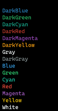 Terminal colors shown in PowerShell