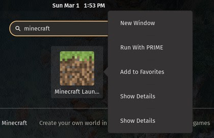 Screenshot of the Run With PRIME option in an application menu<br>