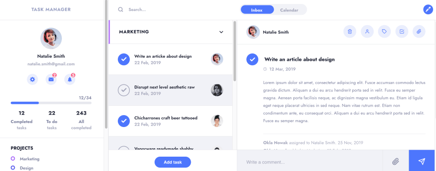 Task Manager UI with CSS Grid