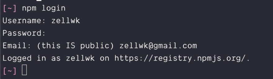 Logging into npm via the command line