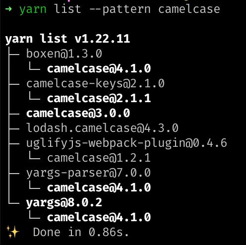 """output of yarn 1' """"yarn list"""" command"""