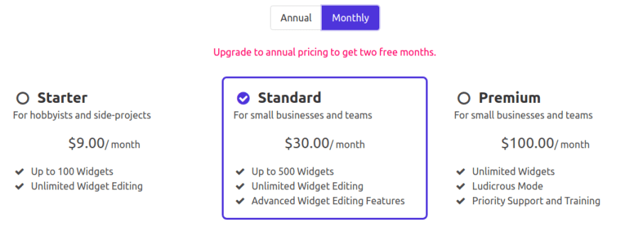 Fancier Pricing Plan Page