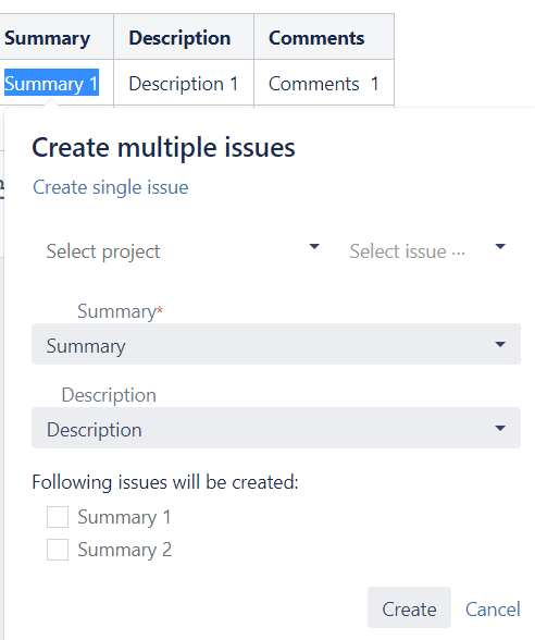 Create Multiple Issues From Table