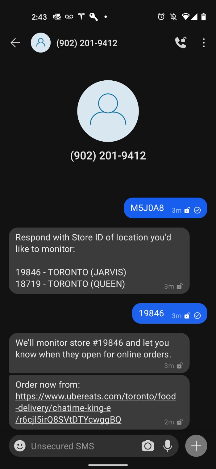 SMS conversation with app