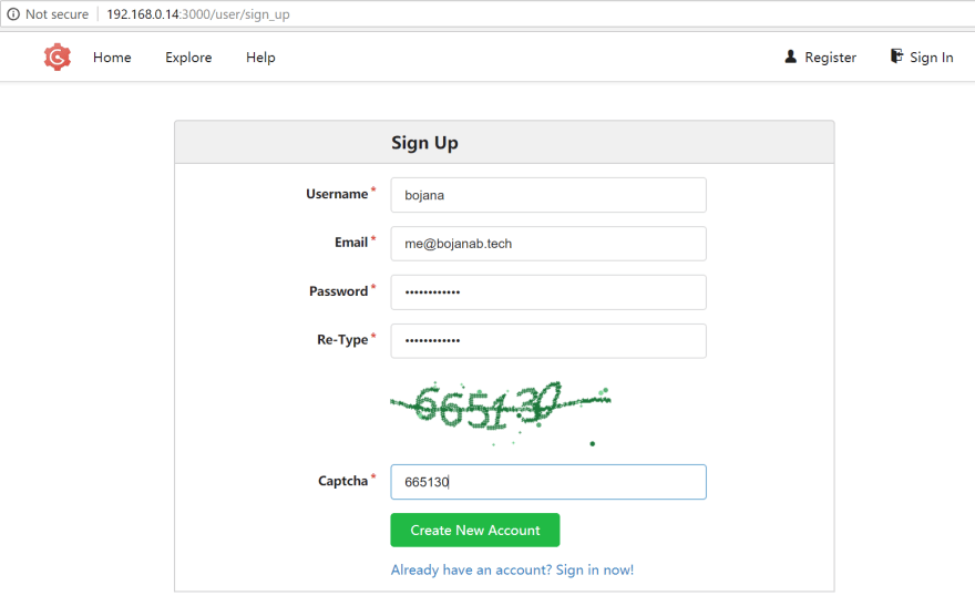 Gogs sign up page