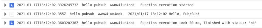 Cloud Function log