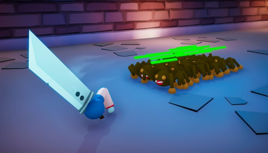 screenshot of arm getting chased by spiders, with proper lighting, some ui, and swoosh effects