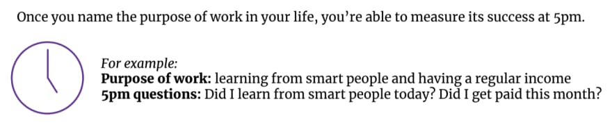"""Screenshot from the worksheet. Text says, """"Once you name the purpose of work in your life, you're able to measure its success at 5pm. For example: Purpose of work: learning from smart people and having a regular income. 5pm questions: Did I learn from smart people today? Did I get paid this month?"""