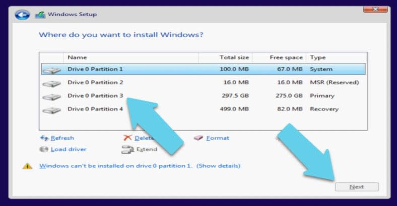 Choose the disk where to install Windows