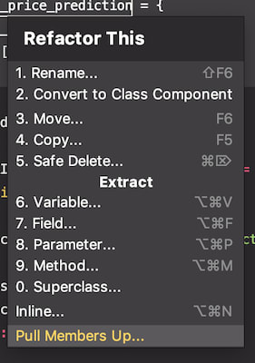 List of available refactorings in Webstorm