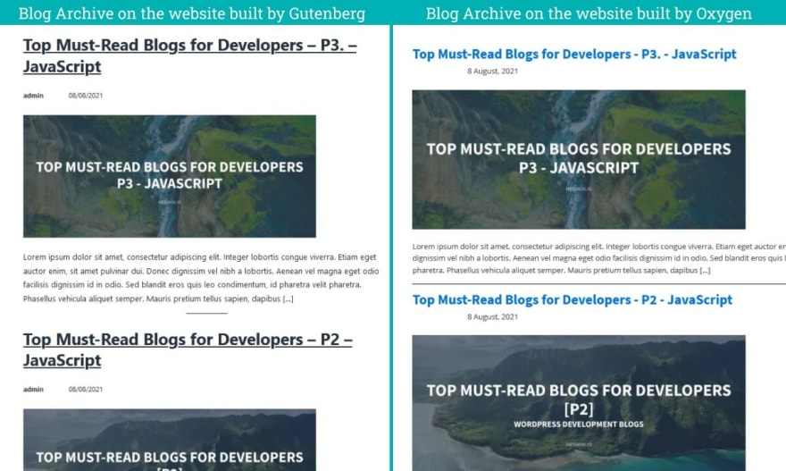 The Blog Archive Pages content on two websites