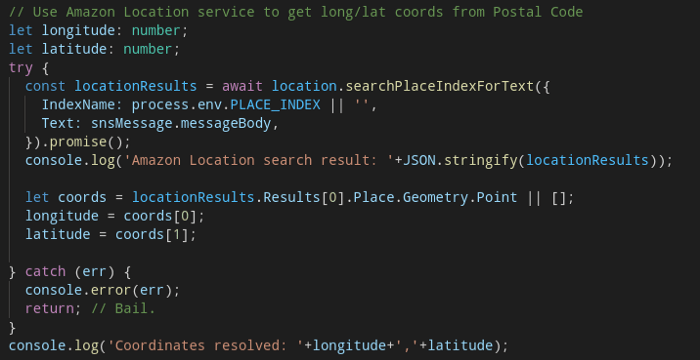 "TypeScript / AWS SDK for Javascript / Amazon Location Service ""searchPlaceIndexForText"""