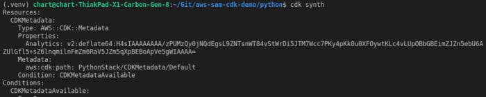 cdk synth output screenshot