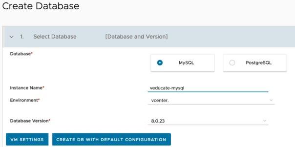 Data Management for Tanzu - Org User - Create Database - Select Database