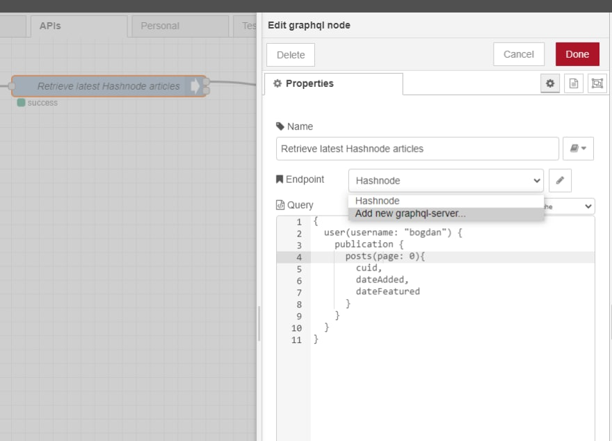 Add GraphQL node