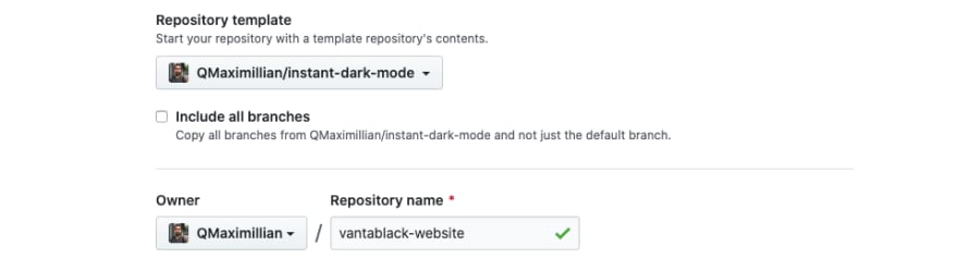 Creating a new repo on GitHub and selecting the instant dark mode template for my new Vantablack website project