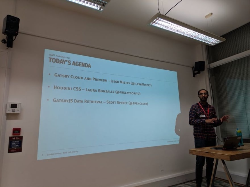 Ilesh Mistry presenting Gatsby Cloud and Preview with Kentico Kontent