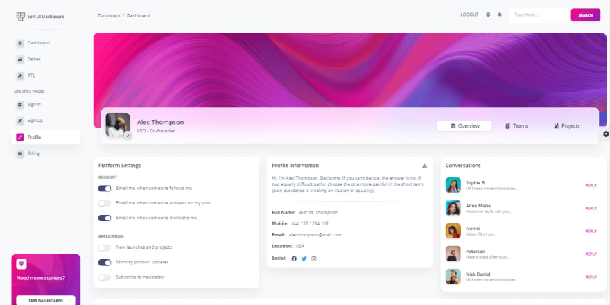 Soft UI Dashboard - User Profile Page.