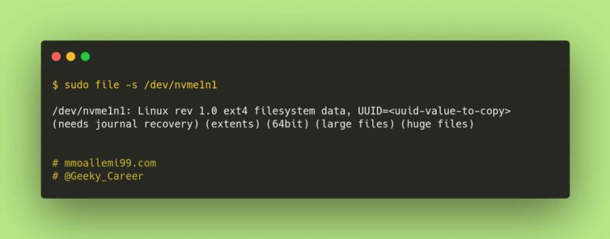 /dev/nvme1n1: Linux rev 1.0 ext4 filesystem data, UUID=<br>