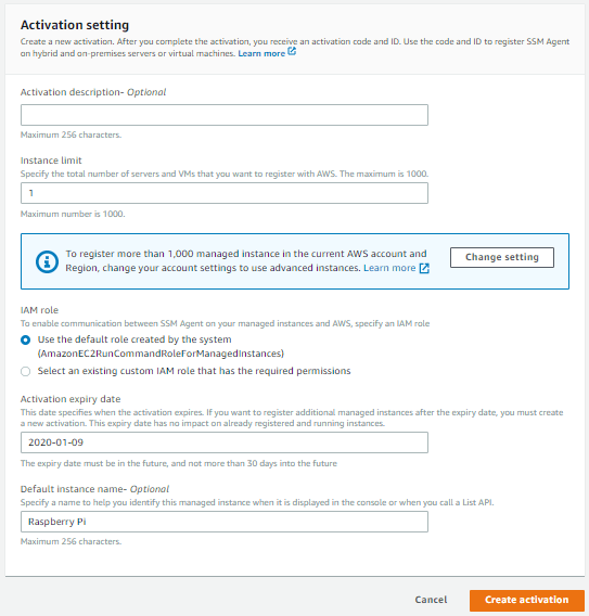 Create activation page