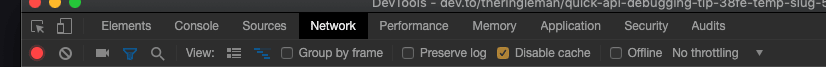 Tabs of the chrome developer tools
