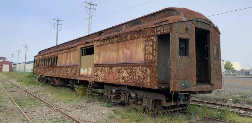 Rusty old rail car in Astoria, Oregon