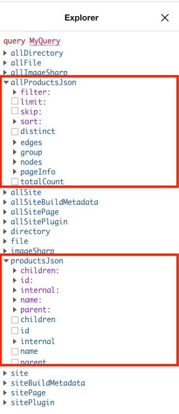 GraphiQL JSON data