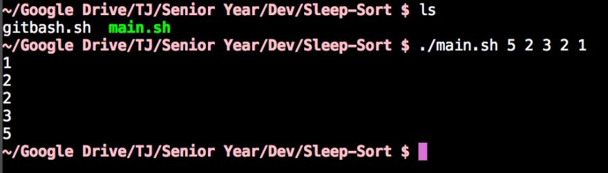 A sample run of the Sleep Sort