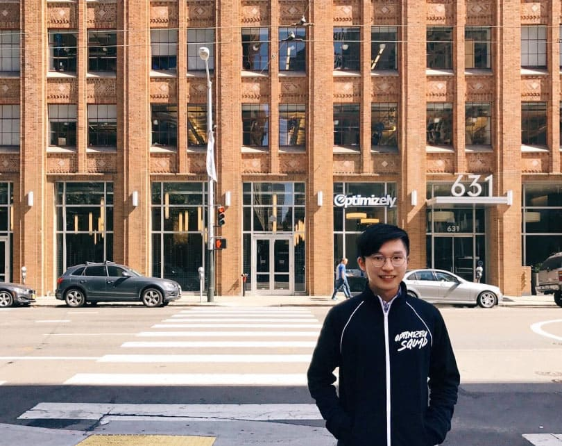 Angus standing across the street from Optimizely