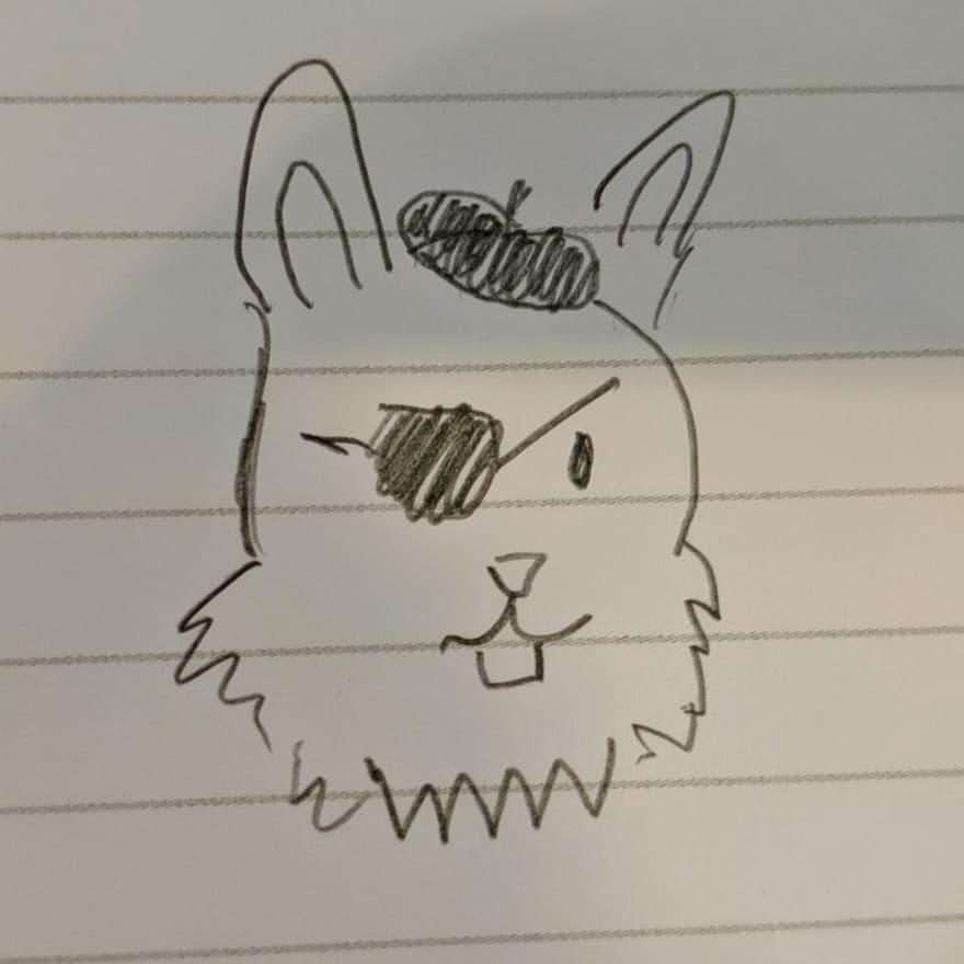 A drawing of a bunny wearing an eyepatch, and a beret.