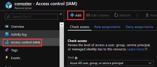 Screenshot of adding access rights for the Service Principle in the access control (IAM) menu