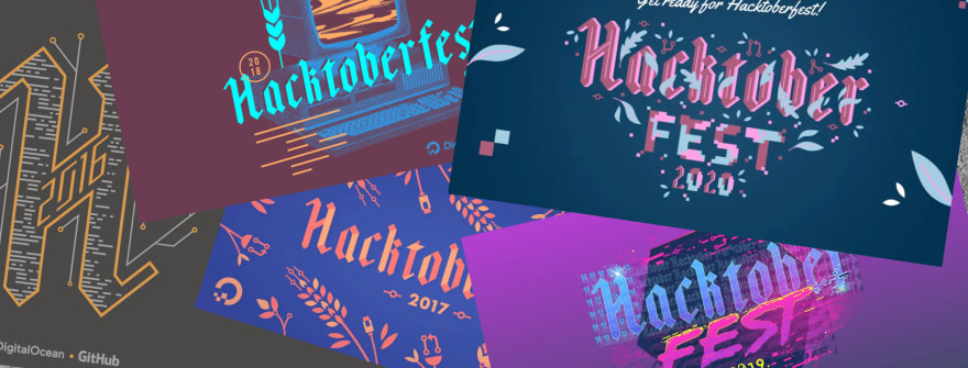 five years os hacktoberfest logos